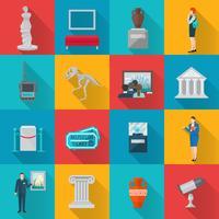 conjunto de ícones do museu plana