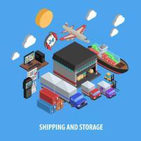 Conceito isométrico de transporte e armazenamento