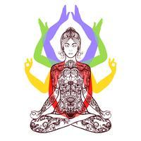 Yoga meditando no ícone de lótus asana vetor