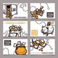 Doodle de pictogramas de composição de cartões de finanças de negócios vetor
