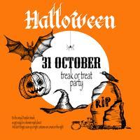 Fundo de desenho de Halloween vetor
