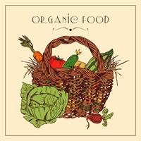 Poster vintage de pictograma cesta de colheita vetor