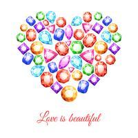 Forma de coração de pedras preciosas vetor