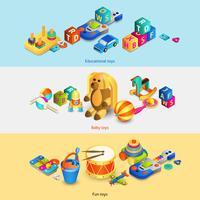Banners isométricos de brinquedos