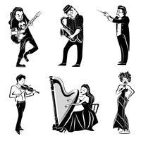 Conjunto de ícones pretos de músicos vetor