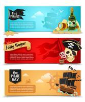 Conjunto de bandeiras planas de piratas