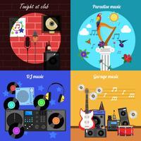 Melodia e instrumentos Banners Set