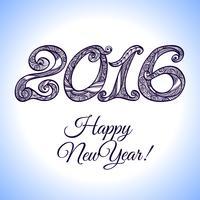 Tipografia de Ano Novo 2016 vetor