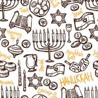 Padrão sem emenda de Hanukkah vetor
