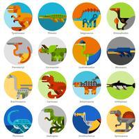 Conjunto de ícones de dinossauro vetor