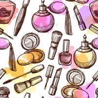 Padrão sem emenda de mão desenhada cosméticos