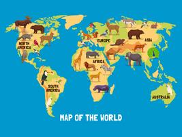Mapa do mundo de animais vetor