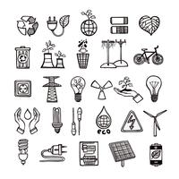 Conjunto de ícones de ecologia e energia