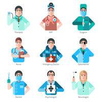 Conjunto de ícones de personagem de médico vetor