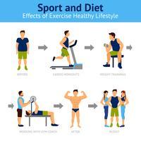 Homem antes e depois da perda de peso vetor
