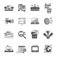 Coleção de ícones pretos de conceito freelance