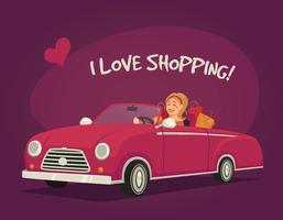 Mulher, dirigindo, shopping vetor