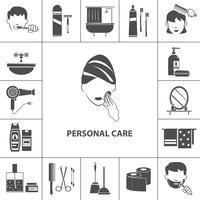 Cartaz de composição de ícones de produtos de cuidados pessoais