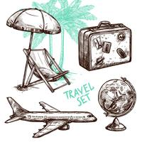 Conjunto de ícones decorativos de esboço de viagens vetor