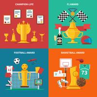 Conjunto de ícones de prêmios de esporte vetor