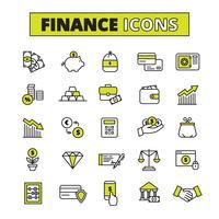 Linha de conjunto de ícones de finanças
