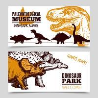 Exposição de Museu de dinossauros 2 conjunto de bandeiras vetor