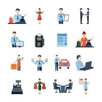 Conjunto de ícones diferentes vendedores