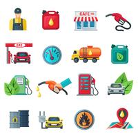 Conjunto de ícones de cor de posto de gasolina