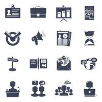 Reunião, ícones, pretas vetor