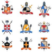 Conjunto de ícones plana de emblemas de cavaleiros medievais vetor