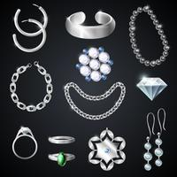 Conjunto de joias em prata vetor