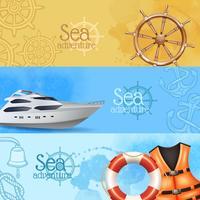 Conjunto de Banners de Aventura Marítima vetor