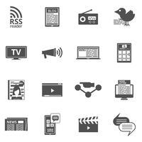 Conjunto de ícones pretos de mídia de massa