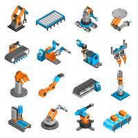 Ícones isométricos de robô industial