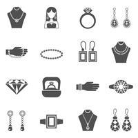 Conjunto de ícones de jóias preto branco vetor