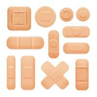 Conjunto de adesivos adesivos de primeiros socorros vetor