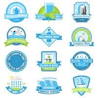 Conjunto de emblema de água vetor