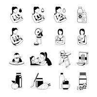 Conjunto de ícones pretos de alimentação de bebê vetor