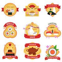 Conjunto de etiquetas de sushi vetor