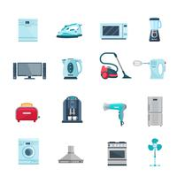 Ícones de cores planas conjunto de aparelhos domésticos