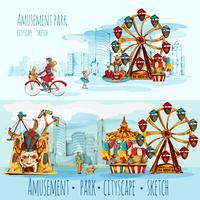 Paisagem urbana de parque de diversões