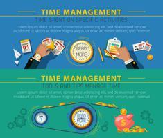 Tme Management Concept 2 Conjunto de Banners vetor