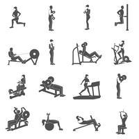Pessoas de treino de ginásio planas
