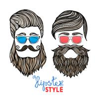 Hipsters heads colored glasses doodle pictogramas