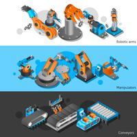 Conjunto de banner de robô industrial vetor