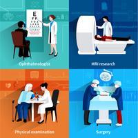 Médicos especialistas 4 ícones planas quadrado