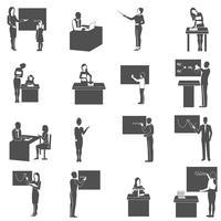 Professor, em, quadro-negro, em, classe, ícones, jogo vetor