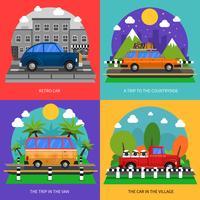 Conjunto de ícones de conceito de carros
