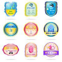 Emblemas de chuveiro de bebê vetor