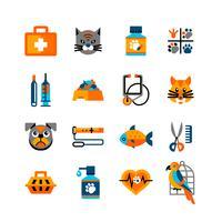 Conjunto de ícones veterinários com animais de estimação